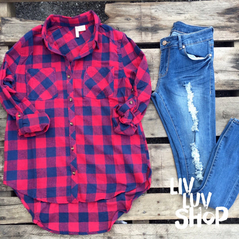 noelle navy and red buffalo plaid button down