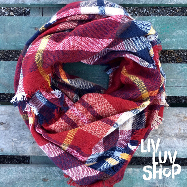 rowan red plaid tartan scarf