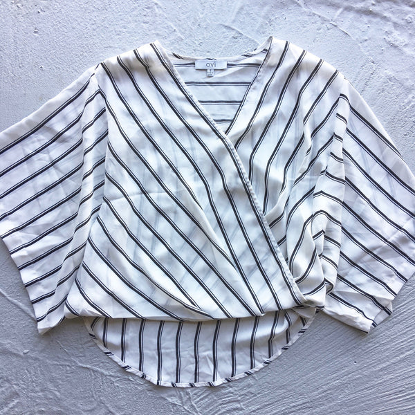 black and white striped cropped blouse