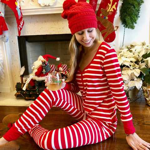 noel striped pajama gift set {includes holiday stripes pajama set + joy 2018 ornament + naughty and nice cup}