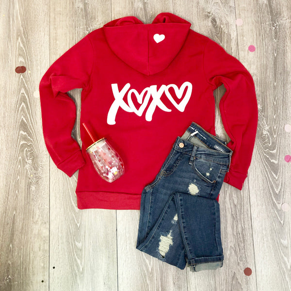 xoxo red hoodie