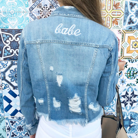 babe distressed jean jacket