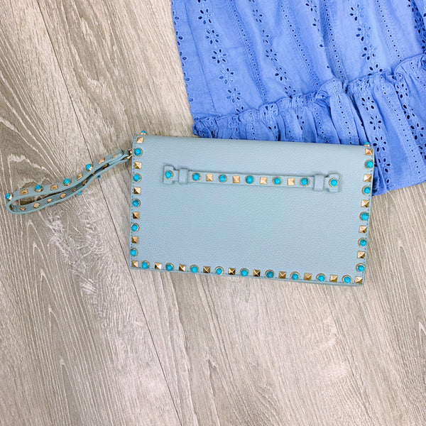 indie blue studded clutch