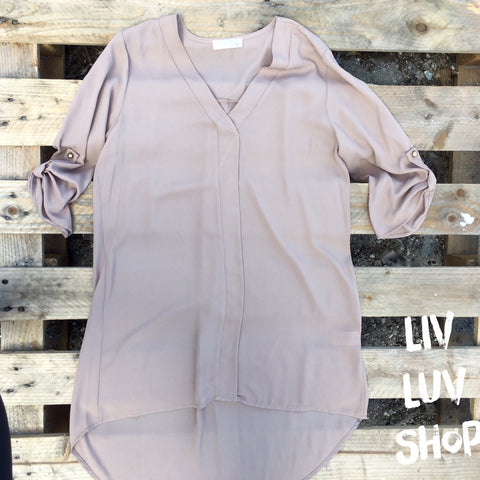 tonya taupe tunic top