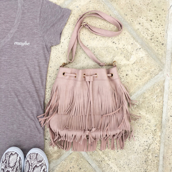 blush fringe crossbody bag