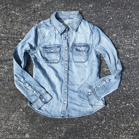 demi denim button down