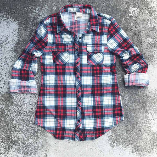 rachel plaid button down