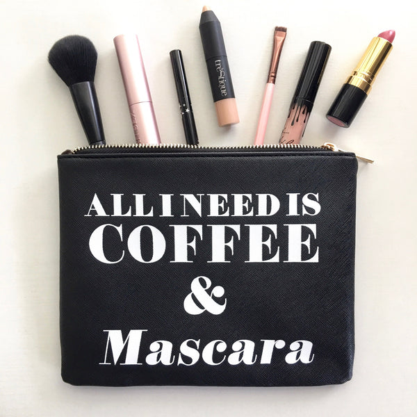 all i need is coffee & mascara pouch
