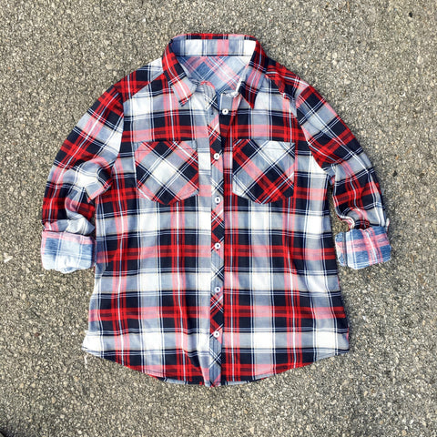 paige plaid button down