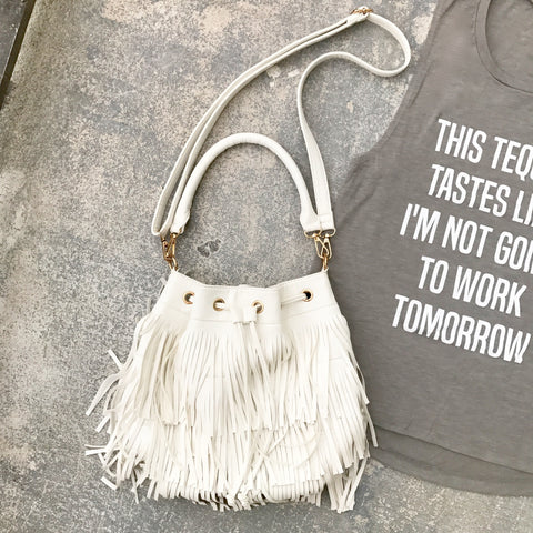 white fringe crossbody bag