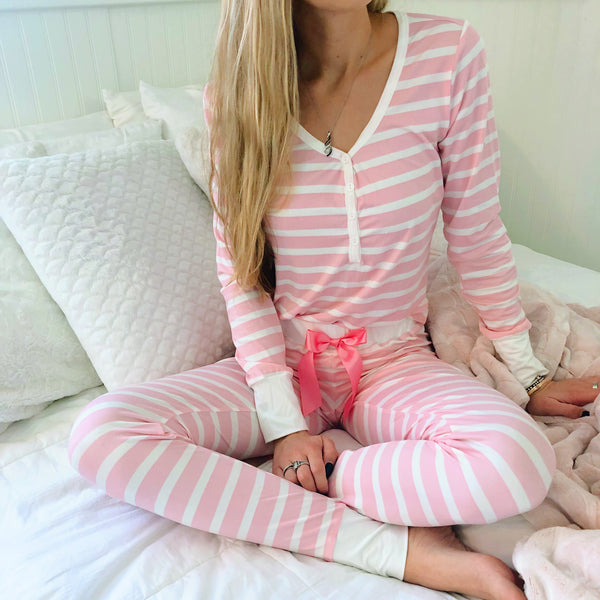 pink & white striped pajamas