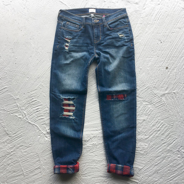 perry plaid patch jeans