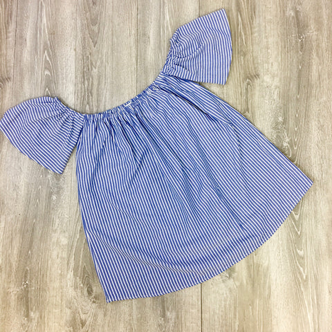 blue striped cold shoulder dress