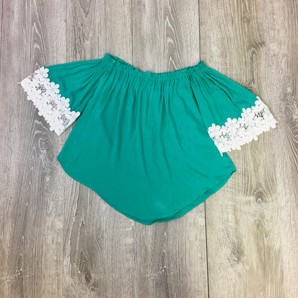 green floral lace top