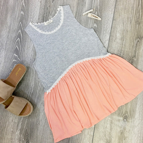 gray and coral baby doll top