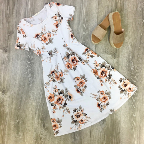 white floral springtime dress