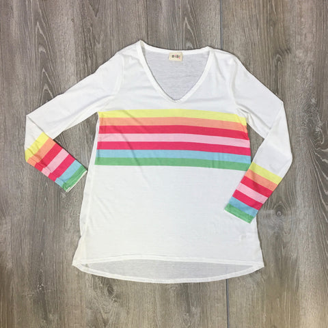 rainbow stripe white top