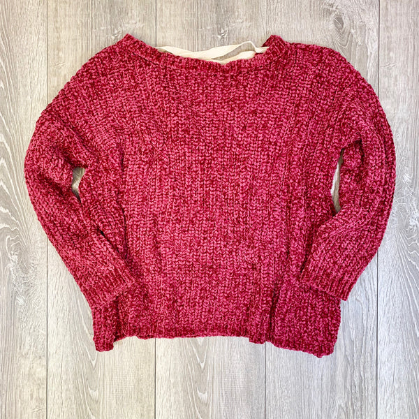 rose tie back chenille sweater