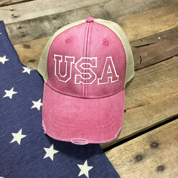 usa distressed hat