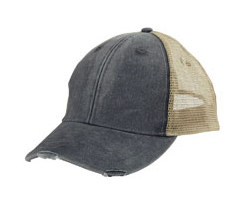 initial distressed hat