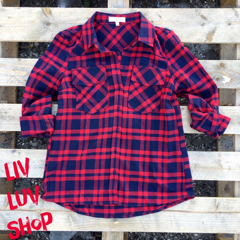nadia plaid button down