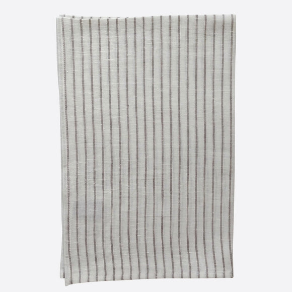 Ivory with Taupe Stripe Tea Towel