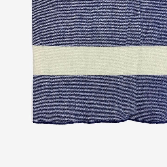 Virgin Wool Throw Blanket Navy w/ Natural Stripe