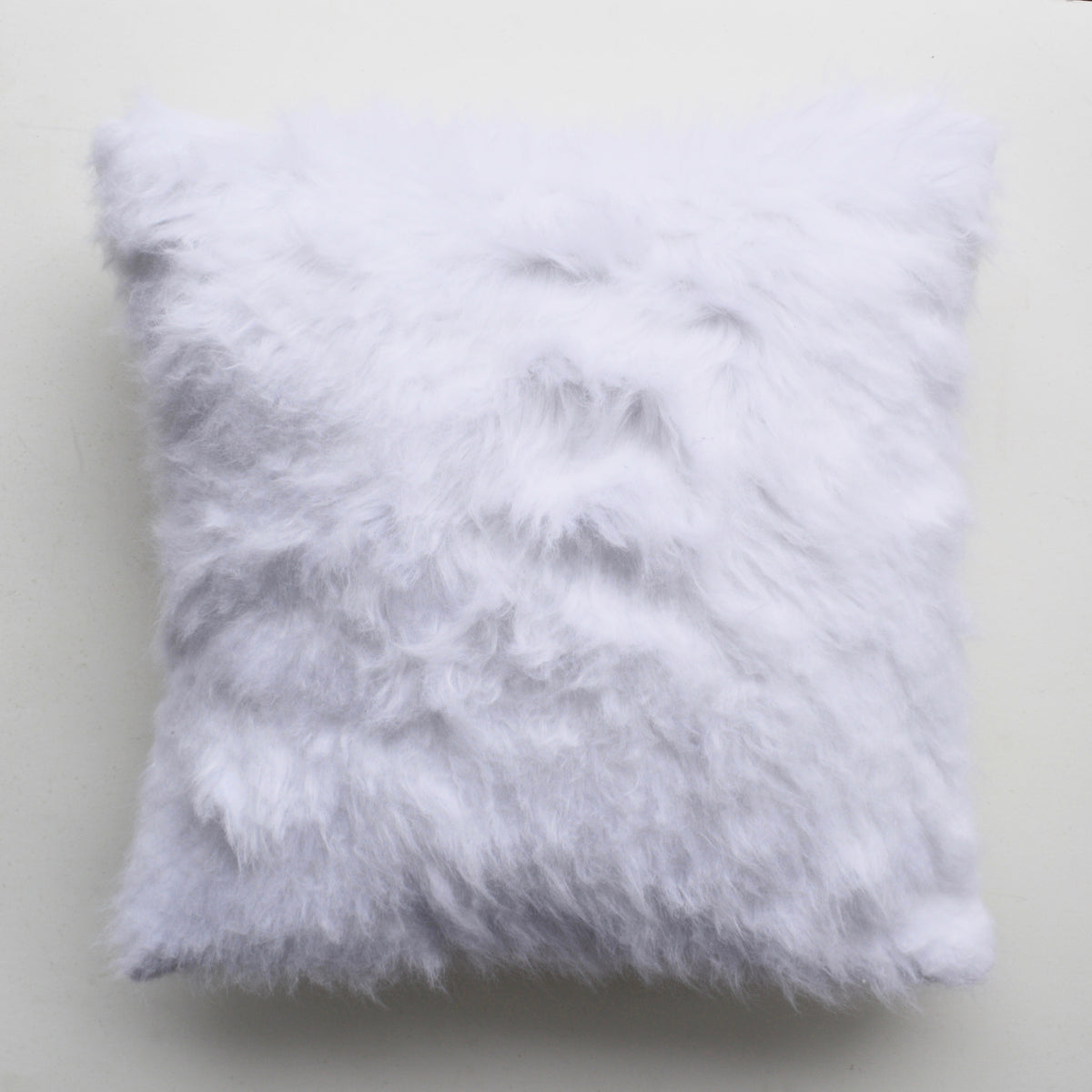 Bodie White Faux Fur Pillow Cover Gray Home Lifestyle