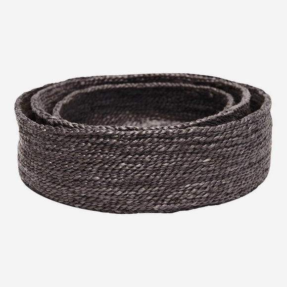 Round Jute Baskets Charcoal