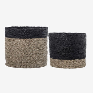 Natural & Black Seagrass Baskets