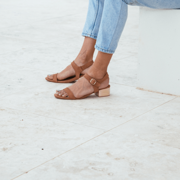ST. AGNI Adalene Ankle Strap Sandal - Clay Suede