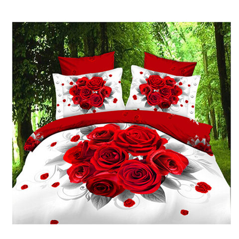 3D Queen King Size Bed Quilt/Duvet Sheet Cover Cotton reactive printing 4pcs  02 - Mega Save Wholesale & Retail