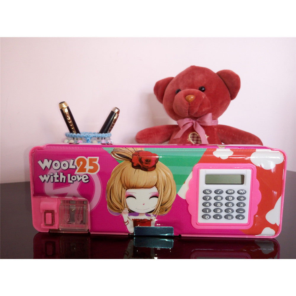 Two-side Magnetic Pencil Box with Calculator Stationery Case   W00L25 - Mega Save Wholesale & Retail