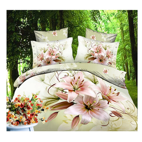3D Queen King Size Bed Quilt/Duvet Sheet Cover Cotton reactive printing 4pcs  03 - Mega Save Wholesale & Retail