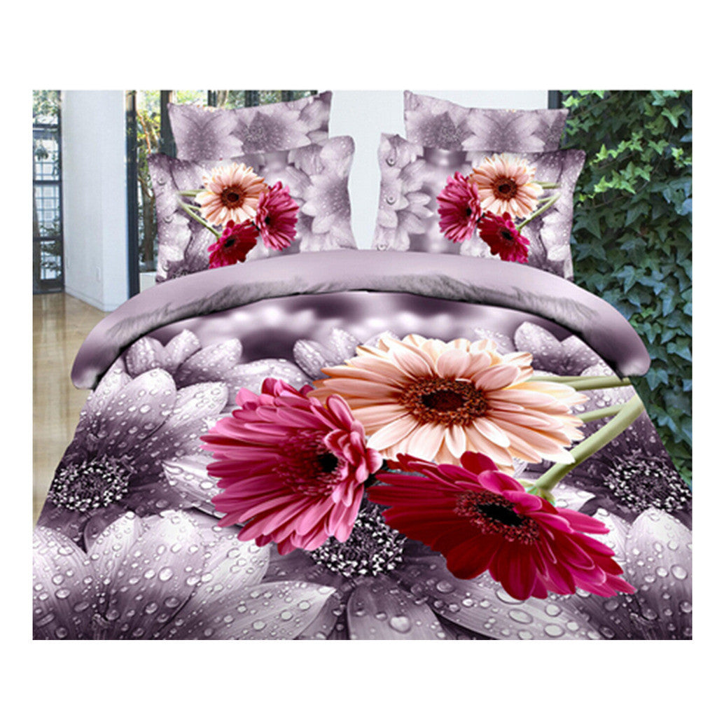 3D Queen King Size Bed Quilt/Duvet Sheet Cover Cotton reactive printing 4pcs  07 - Mega Save Wholesale & Retail