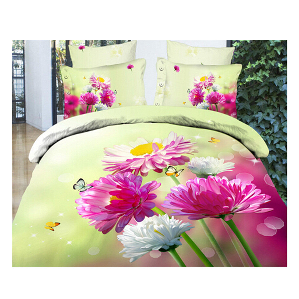 3D Queen King Size Bed Quilt/Duvet Sheet Cover Cotton reactive printing 4pcs  08 - Mega Save Wholesale & Retail