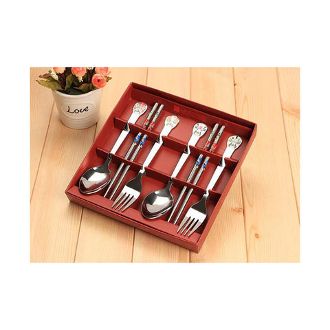 6pcs China Quintessence Opera Stainless steel dinnerware sets Opera Face Chopsticks Fork Spoon - Mega Save Wholesale & Retail