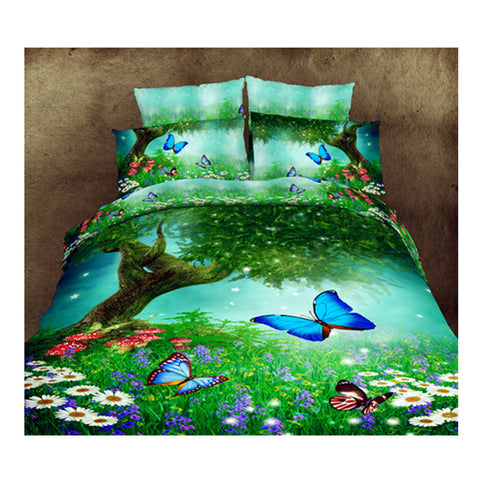 3D Queen King Size Bed Quilt/Duvet Sheet Cover Cotton reactive printing 4pcs  09 - Mega Save Wholesale & Retail