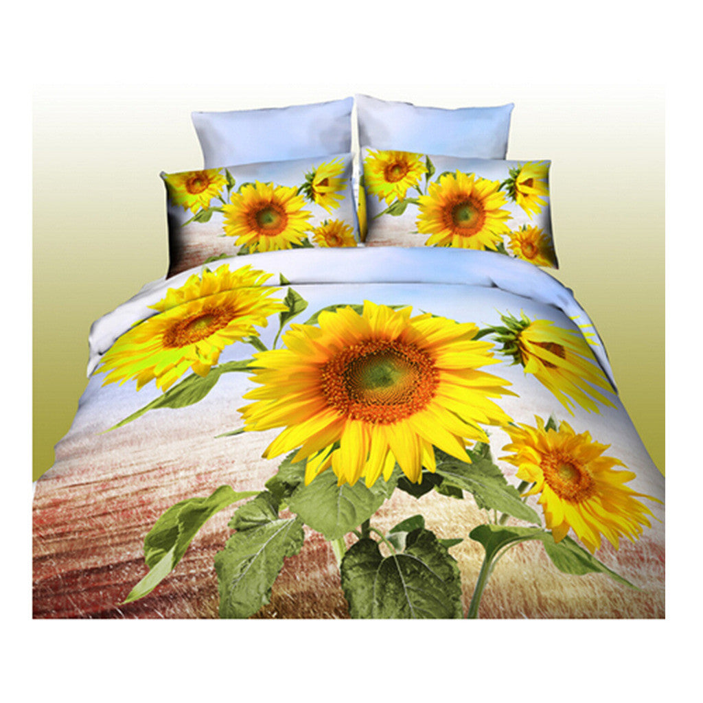 3D Queen King Size Bed Quilt/Duvet Sheet Cover Cotton reactive printing 4pcs  10 - Mega Save Wholesale & Retail