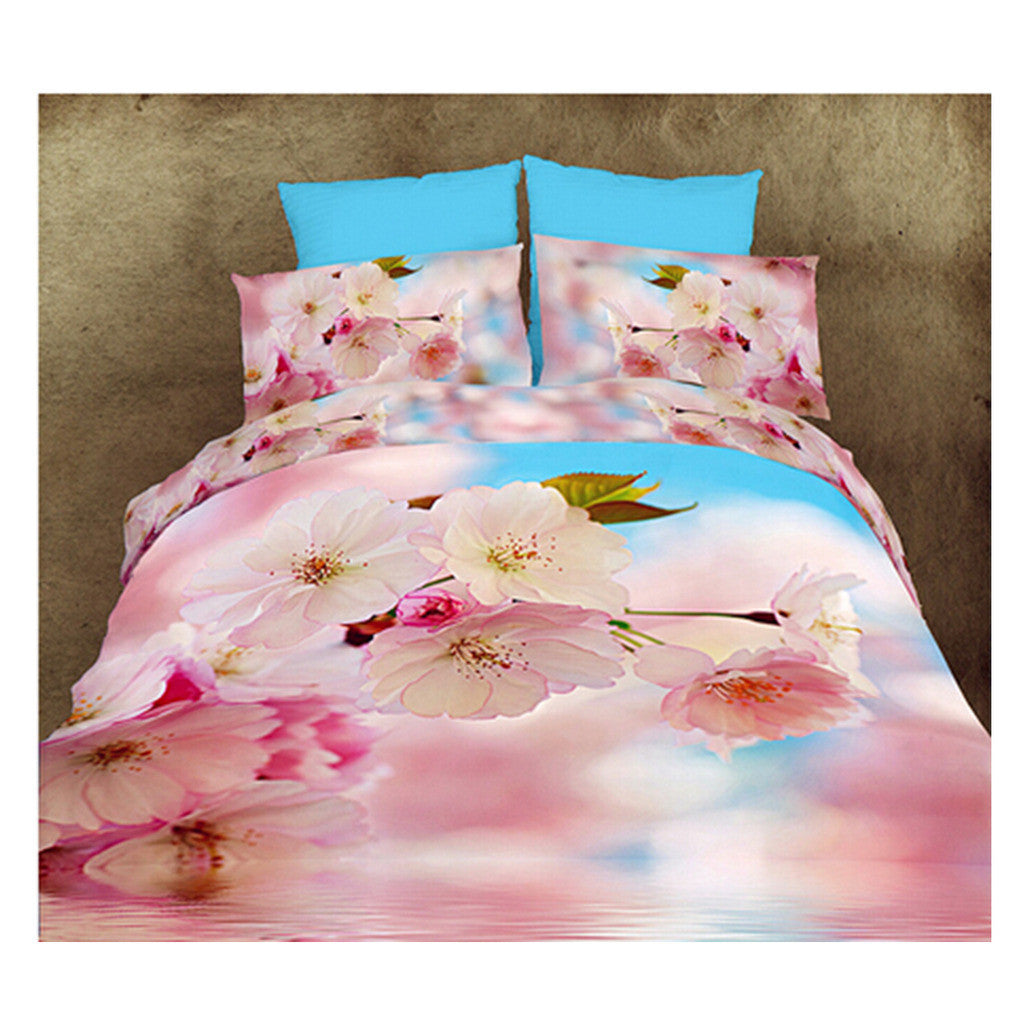 3D Queen King Size Bed Quilt/Duvet Sheet Cover Cotton reactive printing 4pcs  13 - Mega Save Wholesale & Retail
