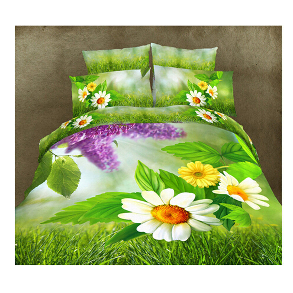3D Queen King Size Bed Quilt/Duvet Sheet Cover Cotton reactive printing 4pcs  14 - Mega Save Wholesale & Retail