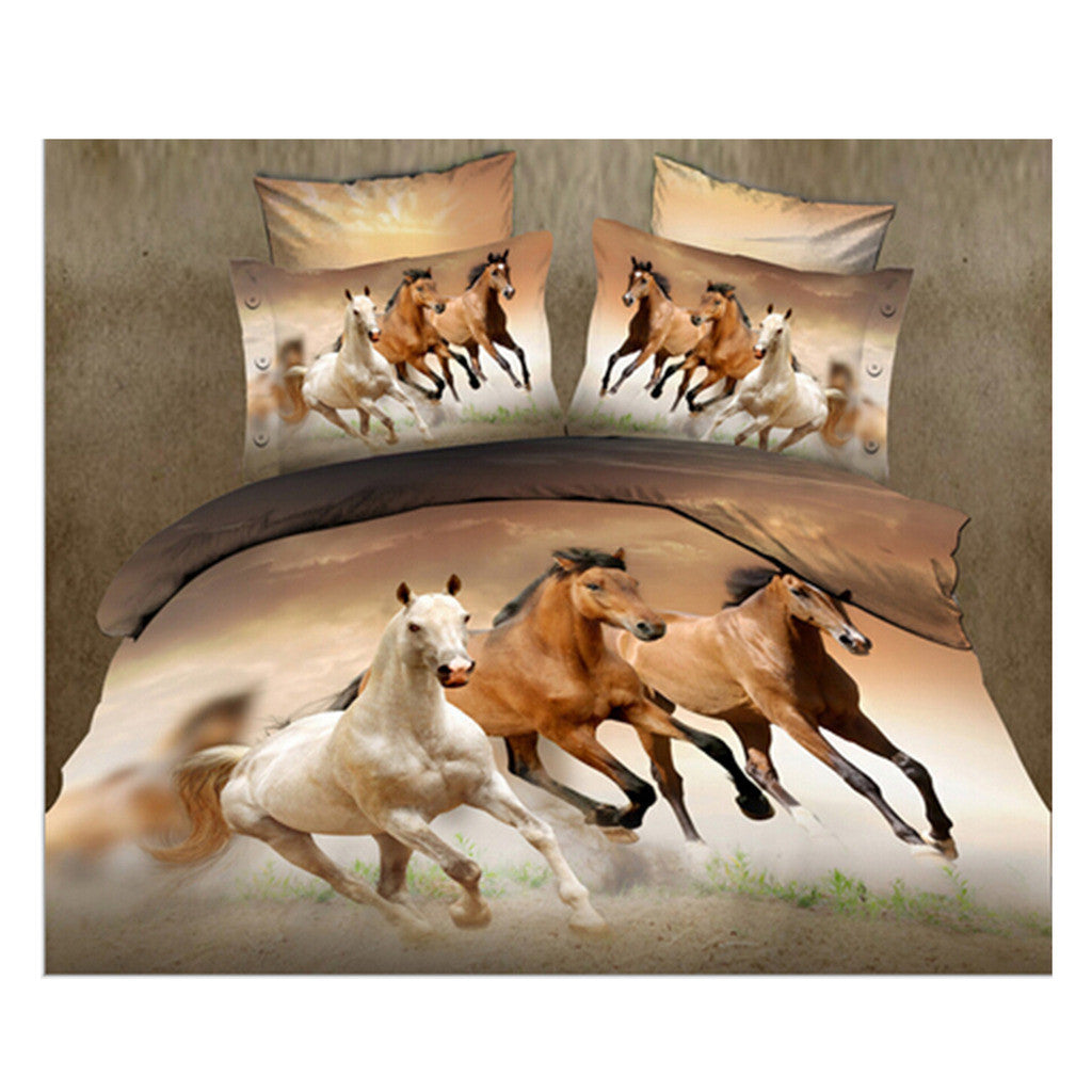 3D Queen King Size Bed Quilt/Duvet Sheet Cover Cotton reactive printing 4pcs  19 - Mega Save Wholesale & Retail