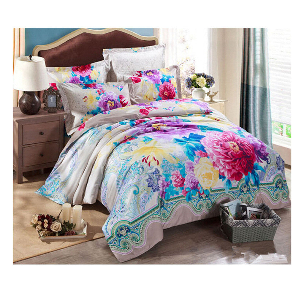 Cotton Active floral printing Quilt Duvet Sheet Cover Sets  Size 03 - Mega Save Wholesale & Retail