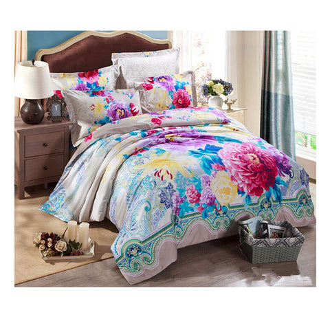Cotton Active floral printing Quilt Duvet Sheet Cover Sets 1.5M/1.8M Size 03 - Mega Save Wholesale & Retail