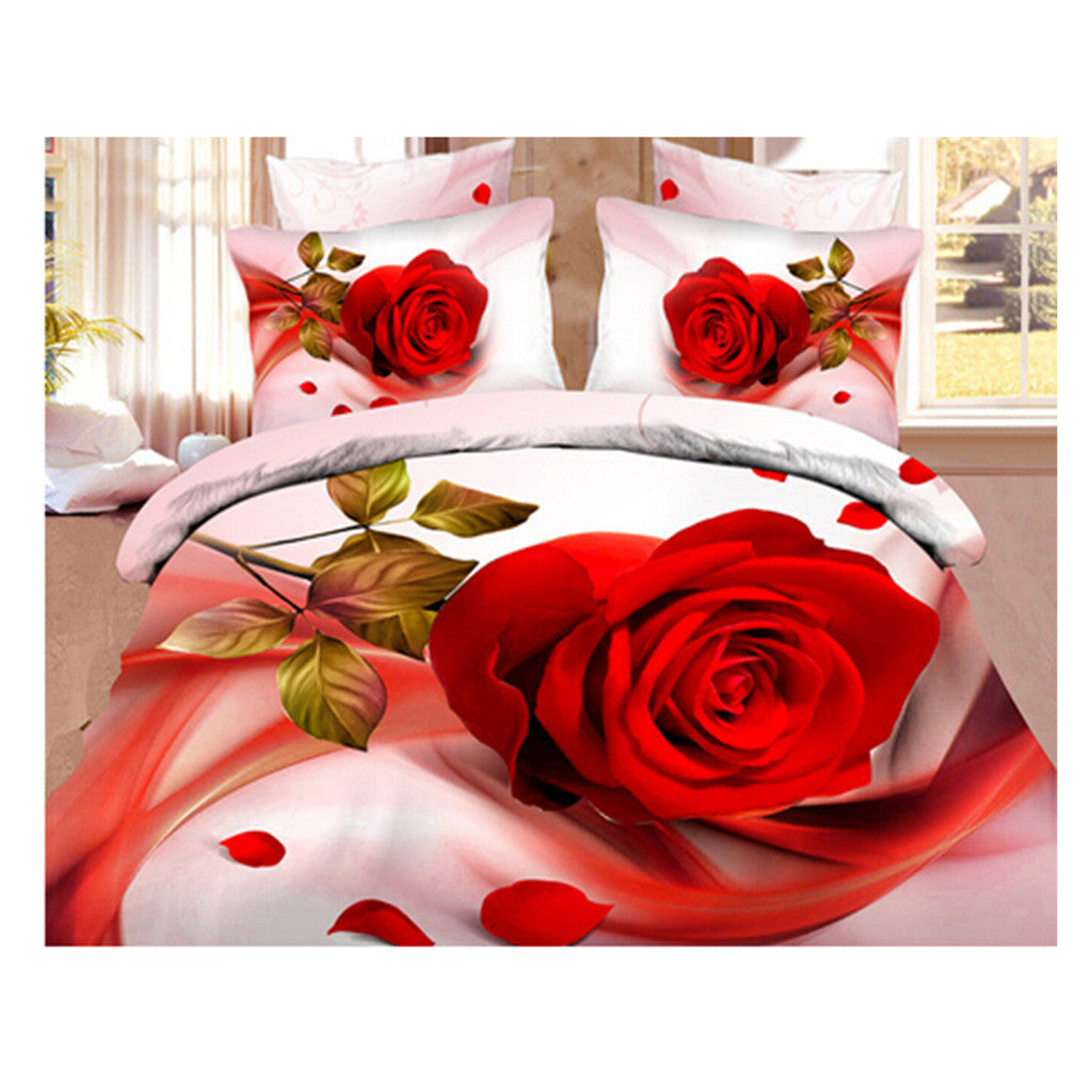 3D Queen King Size Bed Quilt/Duvet Sheet Cover Cotton reactive printing 4pcs  26 - Mega Save Wholesale & Retail