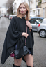 Street Style Black Asymmetrical Draped Cotton Cape Kaftan Top