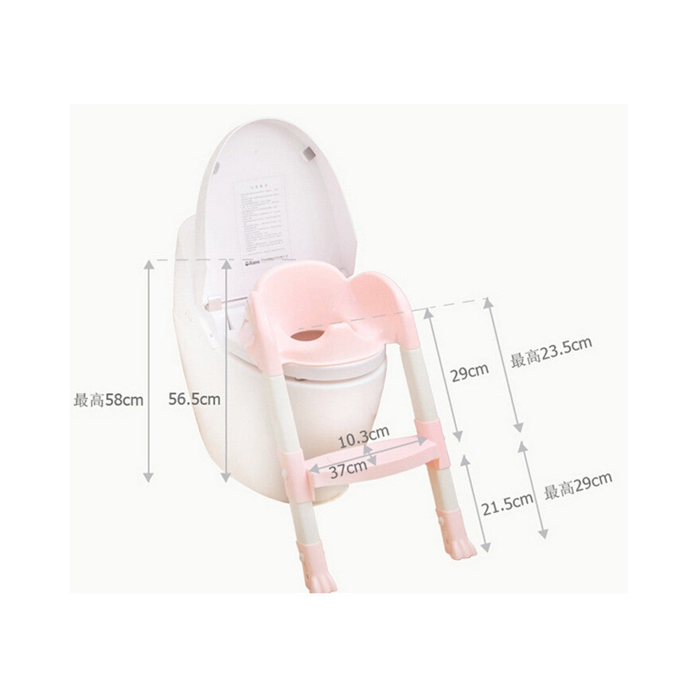 Foldable Kids Children Babies Toddlers Toilet Potty Trainer Seat With Ladder Kit   pink - Mega Save Wholesale & Retail - 4