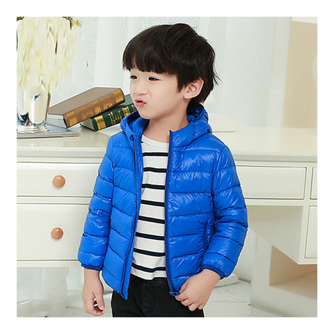 Child Hooded Thin Light Down Coat White Duck Down   sapphire   100cm - Mega Save Wholesale & Retail - 1