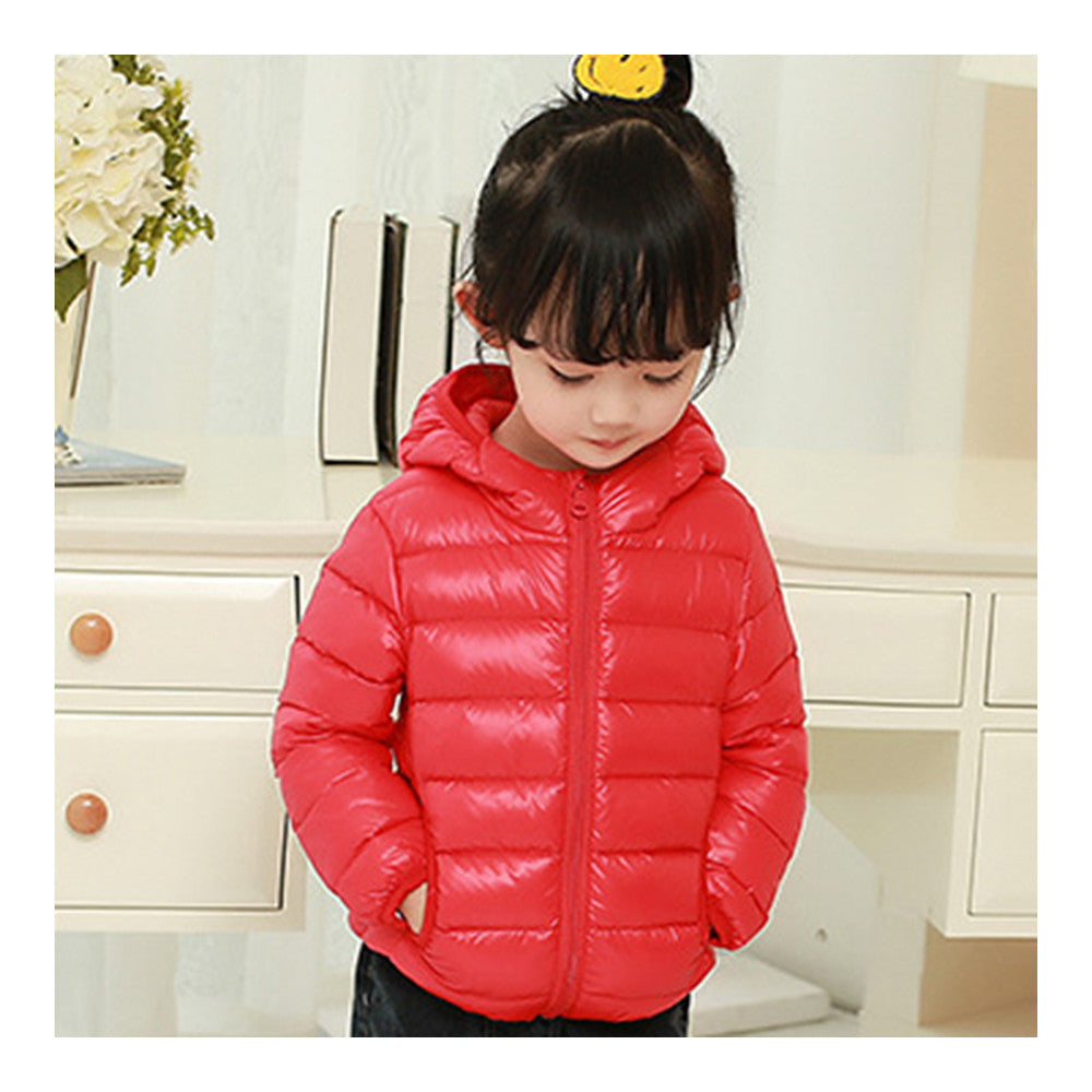 Child Hooded Thin Light Down Coat White Duck Down   red   100cm - Mega Save Wholesale & Retail - 1