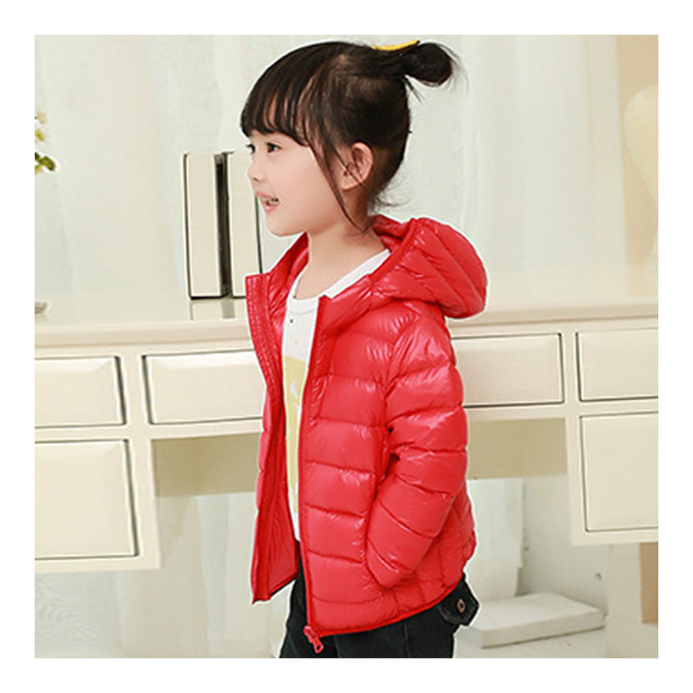 Child Hooded Thin Light Down Coat White Duck Down   red   100cm - Mega Save Wholesale & Retail - 2